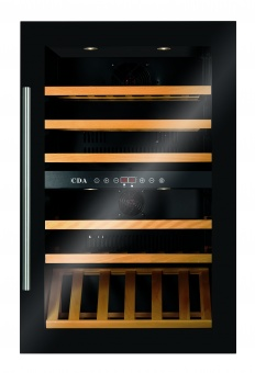 CDA FWV901BL Fully Integrated Wine Cooler Dual Zone Black Glass