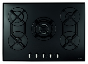 CDA HVG720BL 70cm Five Burner Gas On Glass Hob Black