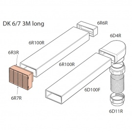 Elica DK67 Ducting Kit Round 150mm Rectangular 3m
