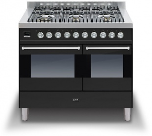 Ilve KD1006MPN Ultimo 90cm Twin Oven 6 Gas Burner Black