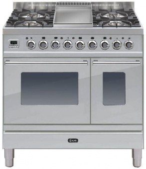 Ilve PDW90FE3SS Roma 90cm Wide Twin Gas 4 Burner & Fry Top St/St