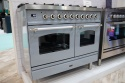 PD106NE3SGC Ilve Milano 100cm Twin 6 Burner Silver Grey Chrome Trim