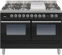 PDW120FE3BLK Ilve Roma 120cm Wide Gas 6 Burner & Fry Top Black