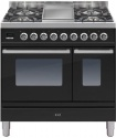 PDW90FE3BLK Ilve Roma 90cm Wide Twin Gas 4 Burner & Fry Top Black