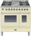 PDW90FE3WH Ilve Roma 90cm Wide Twin Gas 4 Burner & Fry Top White